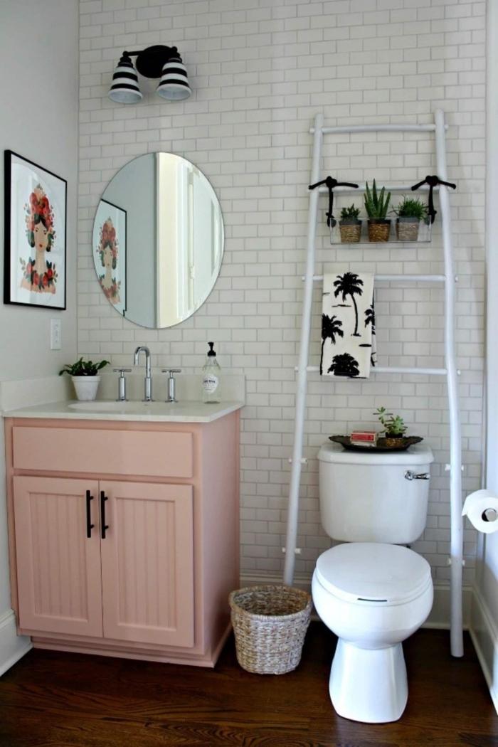 meuble rangement salle de bain échelle blanche recup bricolage facile peinture pour bois blanche