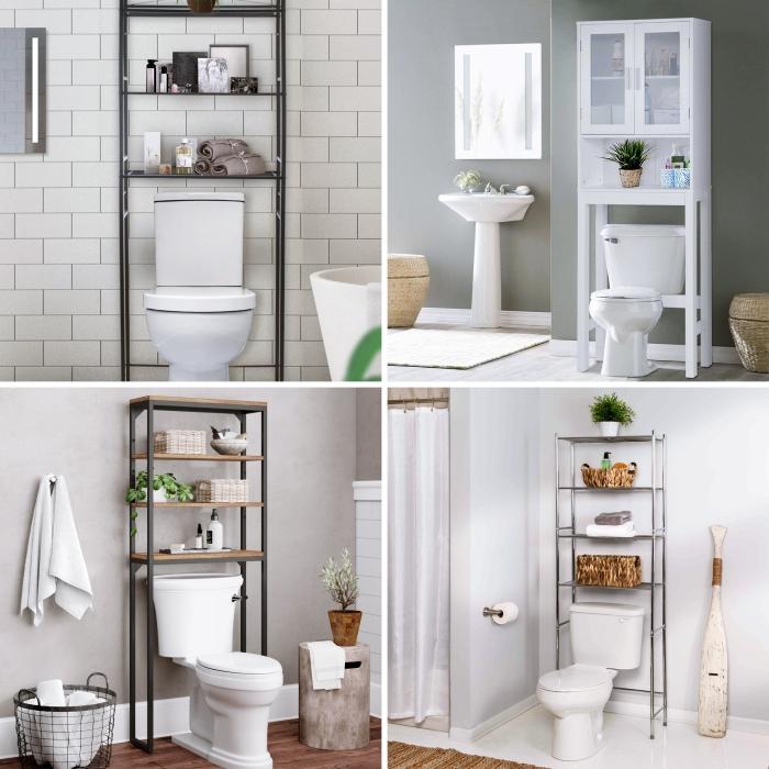 meuble rangement toilette panier tressé métal crochet serviette de bain carrelage blanc miroir