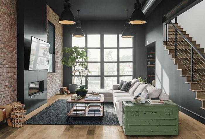meuble style industriel coffre peinture verte table basse métal et bois cheminée moderne noire