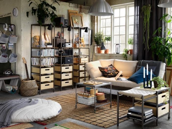 meuble style industriel tapis jute étagère rangement métal canapé blanc lampe suspendue gris