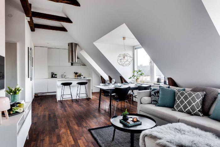 modele cuisine ouverte sur salon 20 m2 cuisine toute blanche sous comble salon gris noir et bleu parquet bois foncé