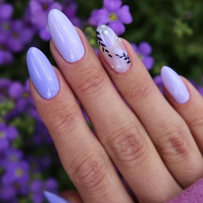 modele ongle gel 2021 manucure printanière couleur violet pastel nuance tendances dessin simple