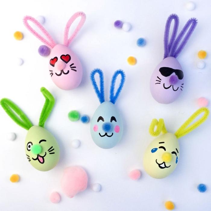 oeufs colorés dessin emojis visage lapin de paques bricolage facile et rigolo enfants projet créatif