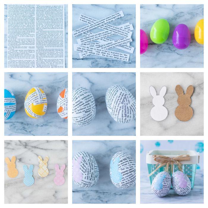 oeufs de paques plastique décoré de papier et motif lapin bricolage de paques pour adultes