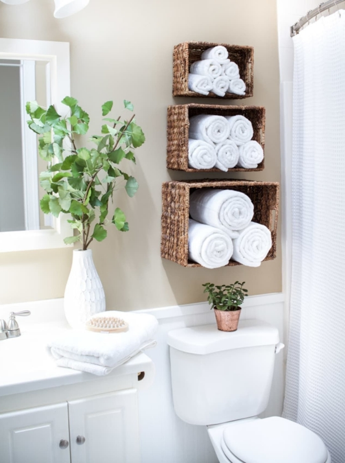 panier tressé fibre végétale fabrication rangement serviette salle de bain facile déco plantes vertes