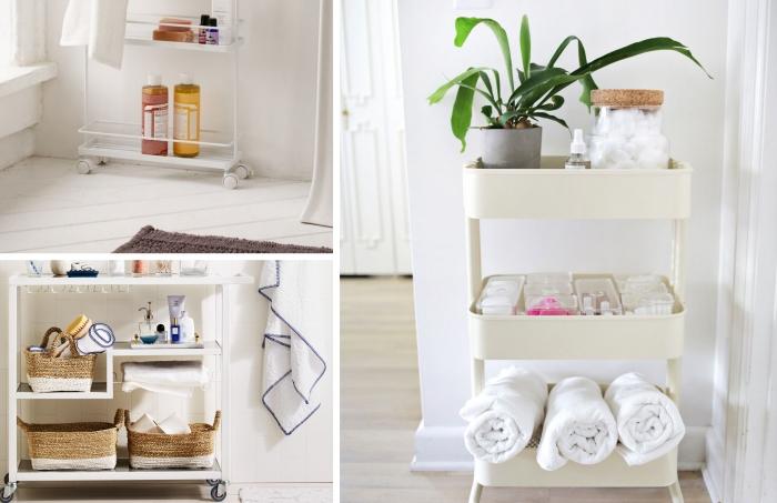 panier tressé rangement astuces salle de bain desserte sur roulettes stockage produits de bain