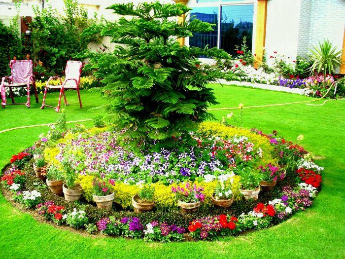 parterre de fleurs au milieu d un petit jardin idee deco exterieur avec brodires de fleurs colorés et gazon