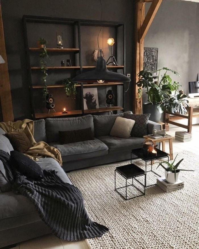 peinture à effet béton rangement mural étagère bois et fer lampe suspendue noir mat deco industrielle