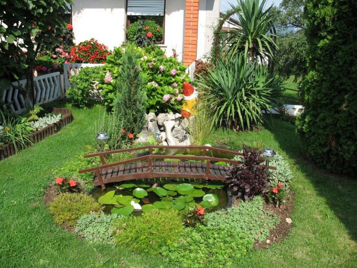 petit bassin de jardin japonais avec pont et vegetaux autour amenagement petit jardin paysager