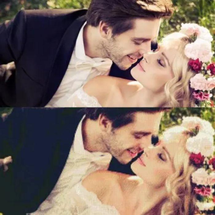 photo mariage transformé en broderie diamant motif photo couple marié