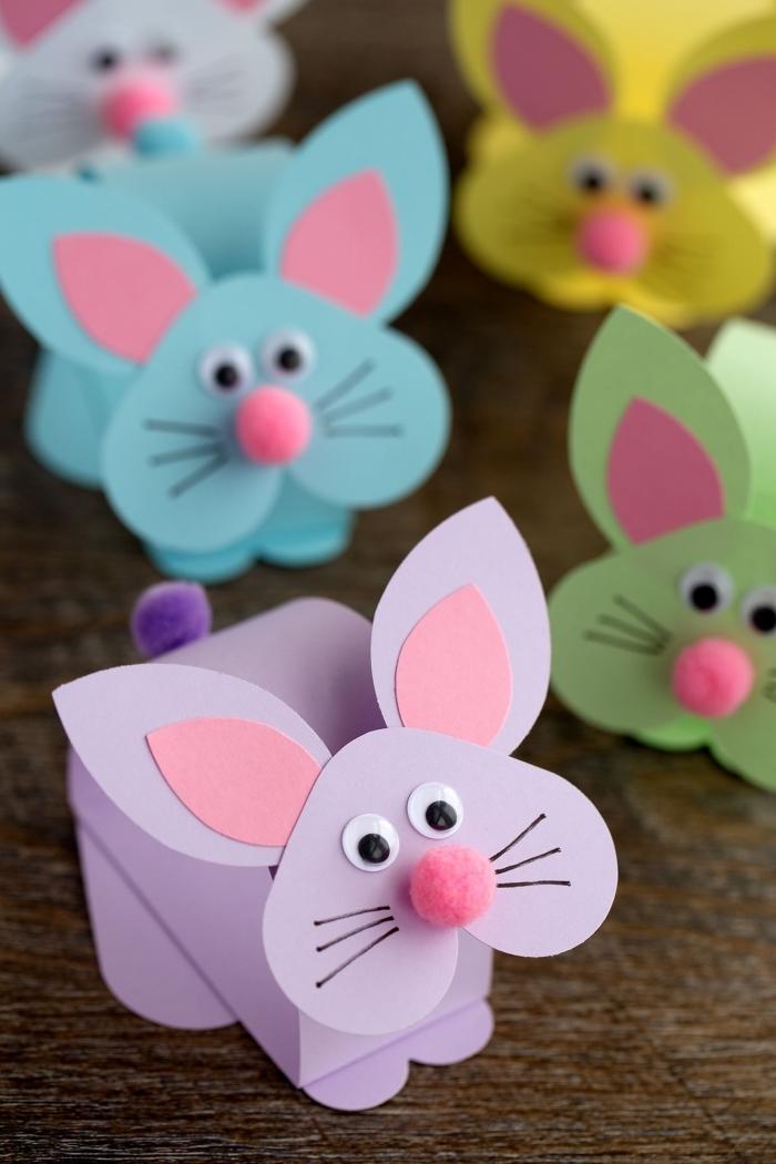projet créatif art papier pliage origami facile pour enfant bricolage paques primaire forme lapin