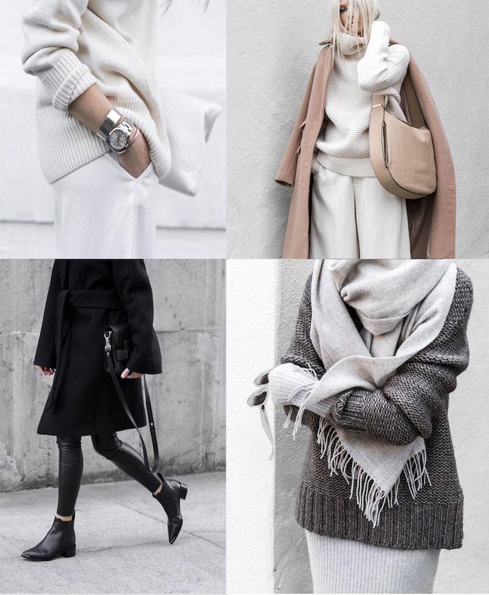 quelques look pour une tenue femme chic pendant l hiver matières tricotés et couleurs de base