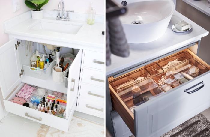 rangement tiroir salle de bain organisateur produits cosmétiques accessoires douche déco salle de bain