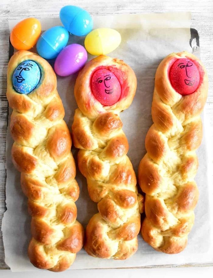 recette brioche de Pâques rapide sans repos décoration oeufs de pâques pâte oeuf et lait température ambiante