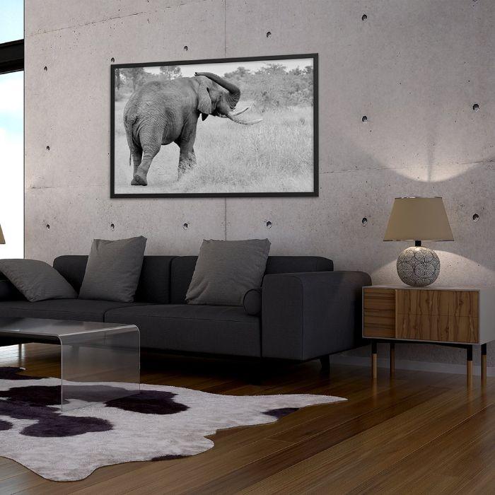 tableau pausage d afrique elephant dans un salon gris et blanc aux accents déco industrielle