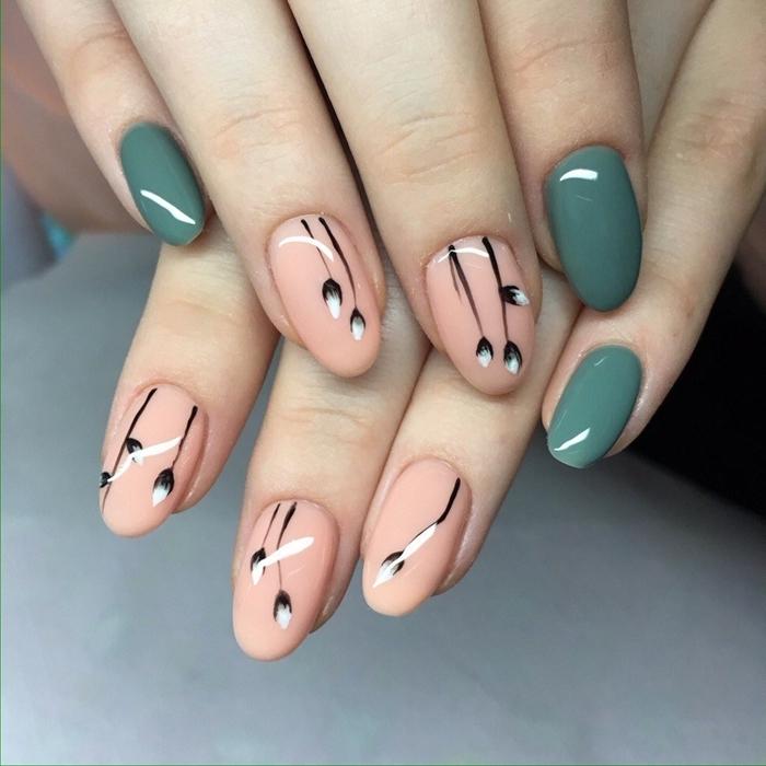 tendance ongles en gel vernis de base nude dessin simple sur ongle motif fleur ongle en vert
