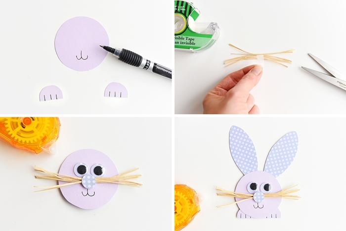 tutoriel bricolage de paques facile diy lapin en papier cartonne instruction tete lapin visage yeux mobiles