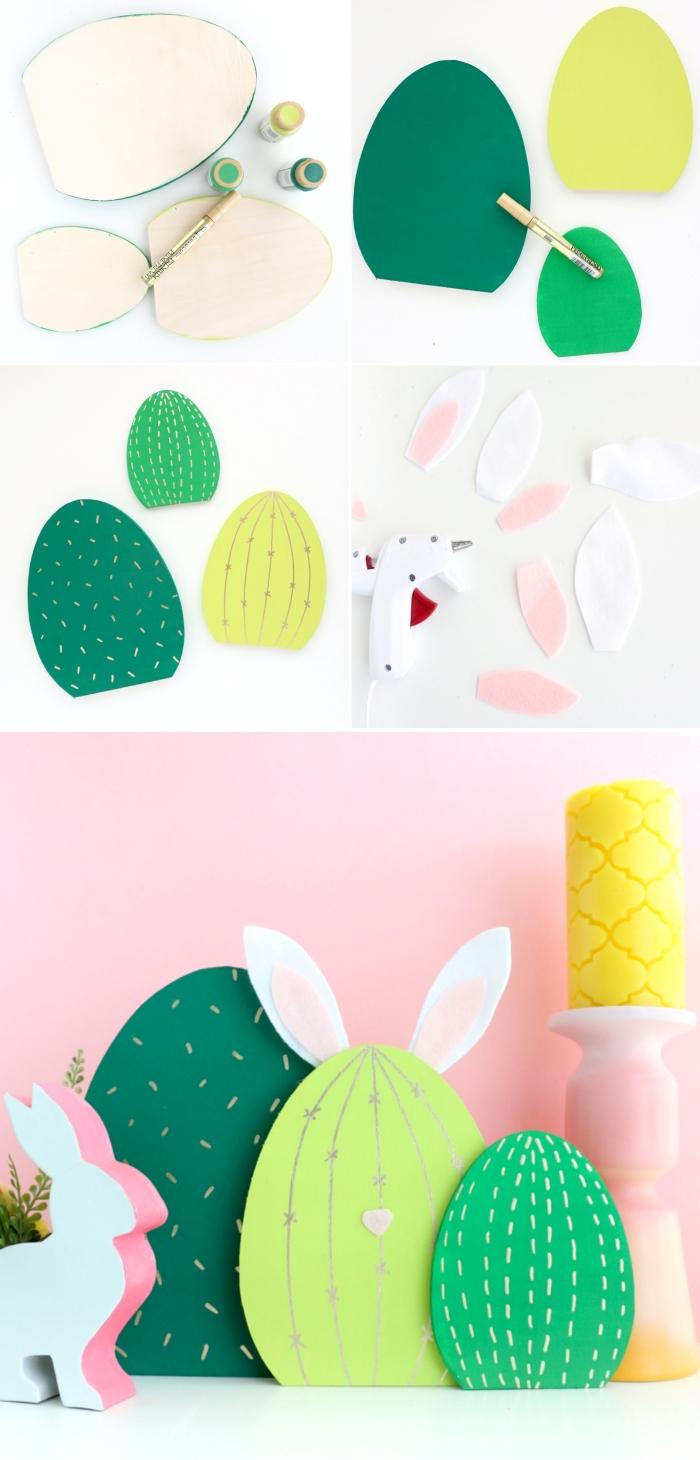 tutoriel bricolage paques oeuf découpe bois peinture acrylique diy cactus lapin décoration facile