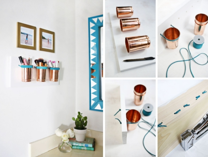 tutoriel comment faire un rangement mural faciles avec gobelets cuivrés lacets cuir planche bois peinture