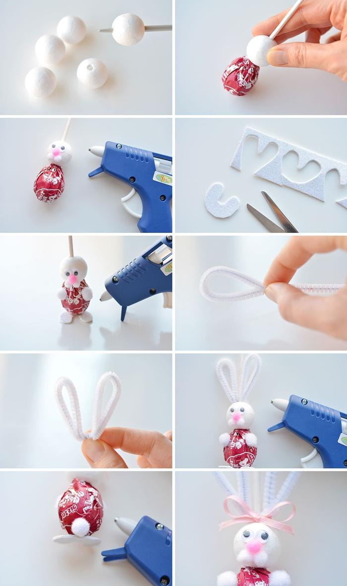 tutoriel facile bricolage lapin de paques pistolet colle chaude cure pipe yeux mobili mini pompon rose