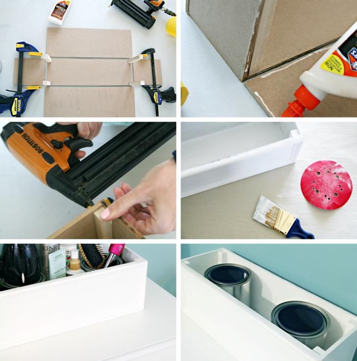 tutoriel facile comment faire organisateur salle de bain produits cheveux boîte planches bois
