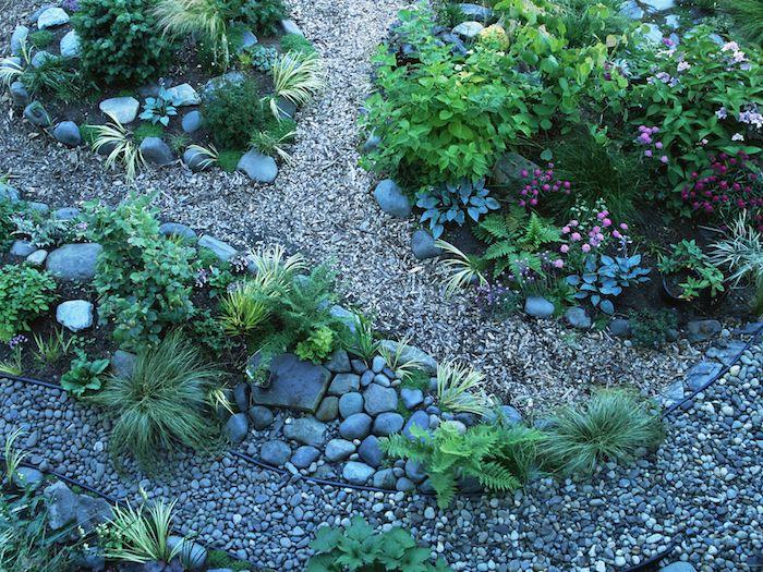 un jardin avec des zones de plantes vertes et des pierres décoratives