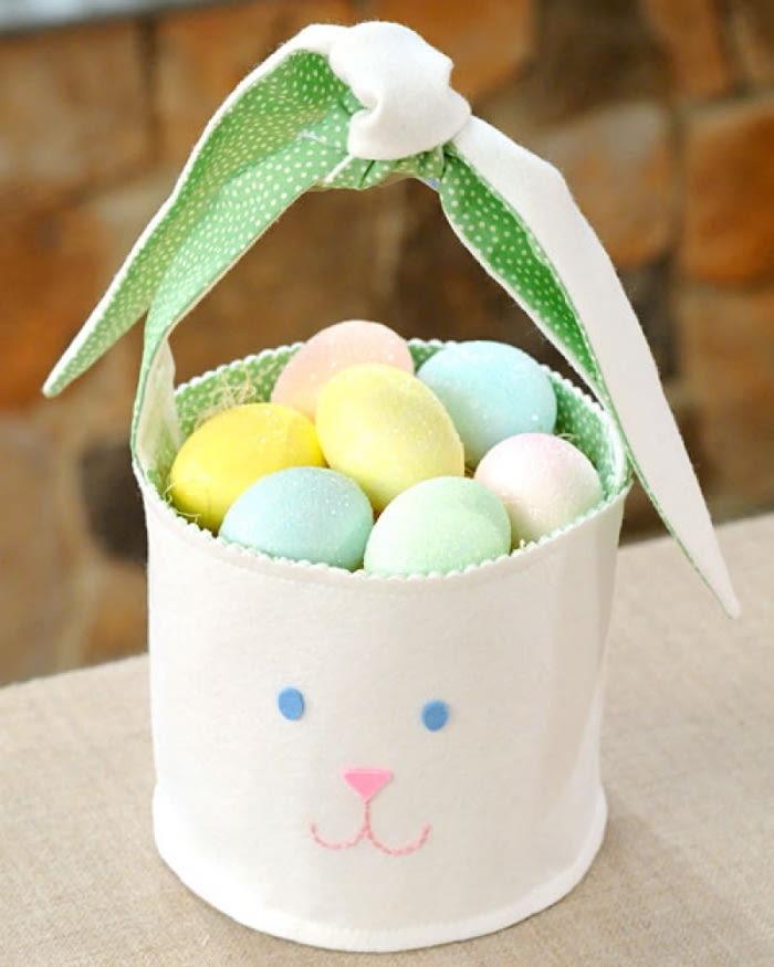 un panier de pâques en maternelle en forme de lapin rempli des oeufs décoratifs