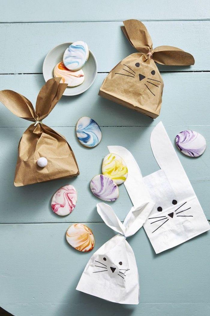 une idée dr bricolage paques maternelle panier original d un sac en papier dessiné