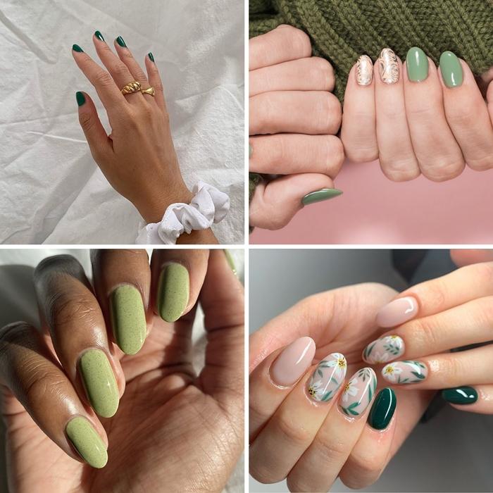 vernis ongle printemps manucure verte nuances pastel motifs floraux nail art facile printemps