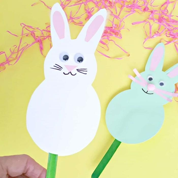 yeux mobiles bricolage paque facile pour enfant diy lapin corps en papier blanc dessin visage