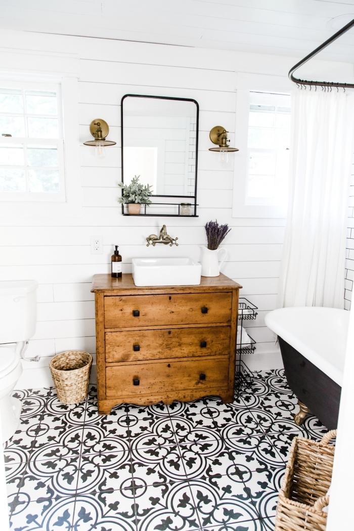 accents noir mat style industriel décoration maison de campagne chic moderne meuble bois