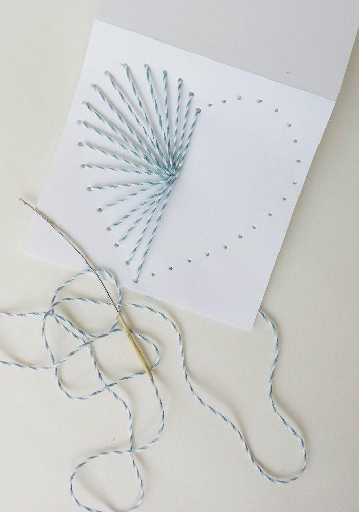 activité fête des mères comment coudre des motifs sur papier