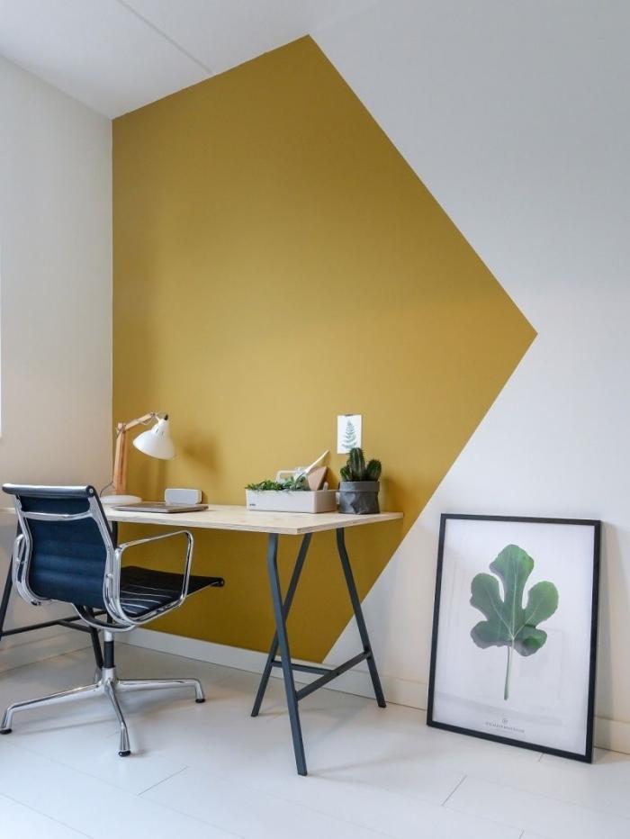 aménagement coin bureau a domicile dans le salon quel pan de mur peindre pour agrandir la pièce