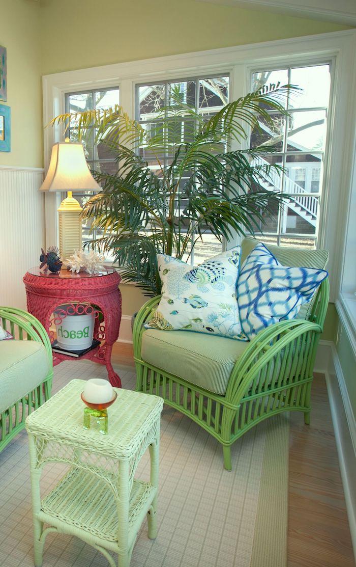 aménagement d une salle de sejour avec rotin relooking leuble avant après a l aide de peinture verte
