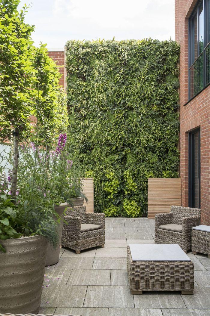 amenagement jungle urbain avec mur de lierre et arbre persistant brise vue mur de briques salon de jardin cour en ville