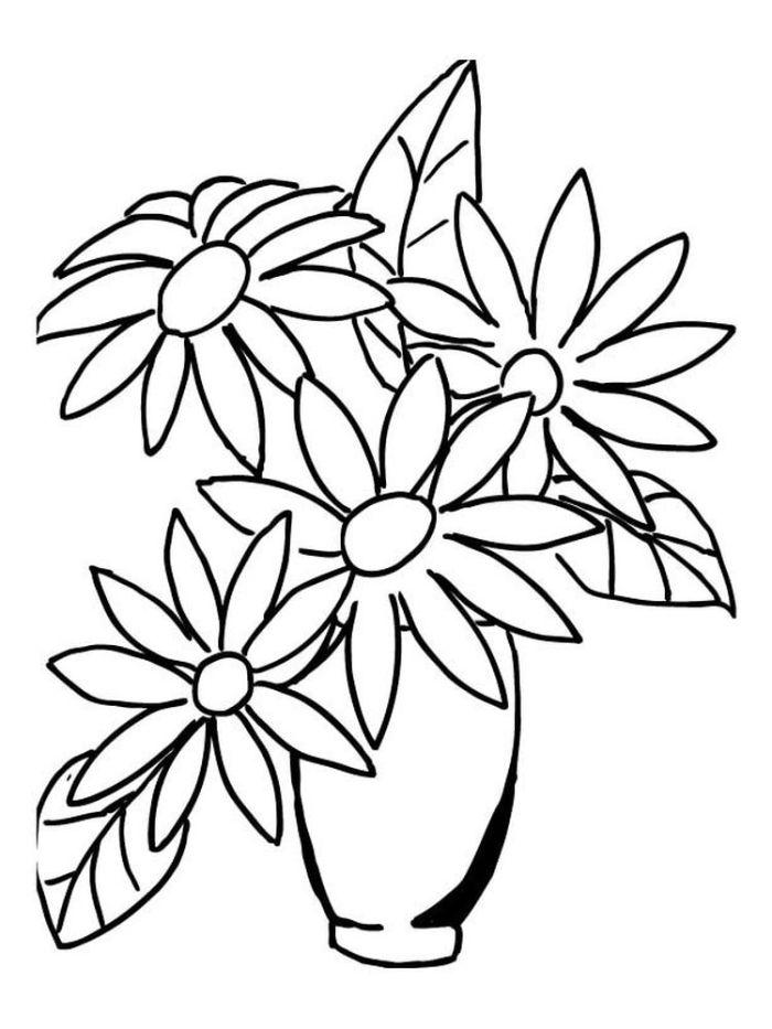 apprendre a dessiner leçon enfant marguerittes en vase faciles à retracer sur bout de papier