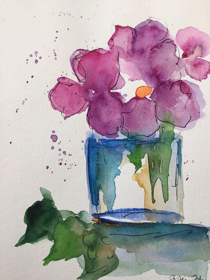 art abstrait motif fleuri plante aux pétales violettes dans bocal exemple motifs dilués créatifs
