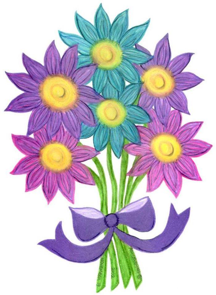 art floral aux crayons bouquet noué d un ruban autour des tiges couleurs gamme des violets et les bleus