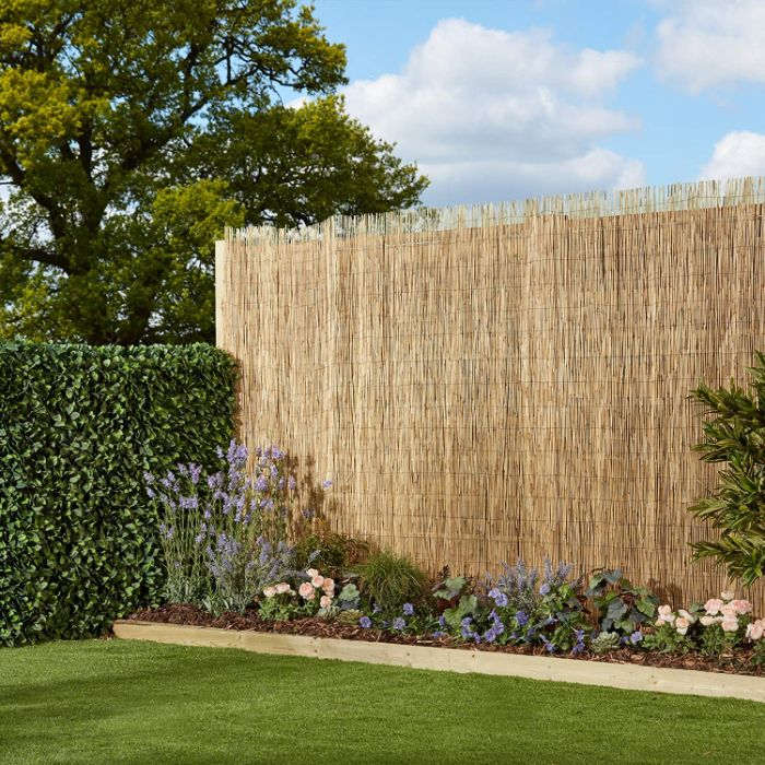 bordure de jardin fleuri buissons verts et cloture de bambou gazon vert modele exterieur exotique