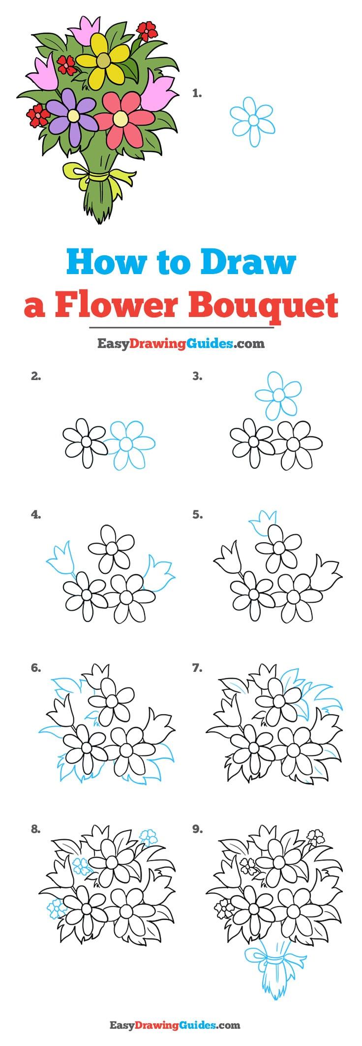 bouquet de fleurs dessin étape par étape avec des pétales forme simple et noeud à la base des tiges