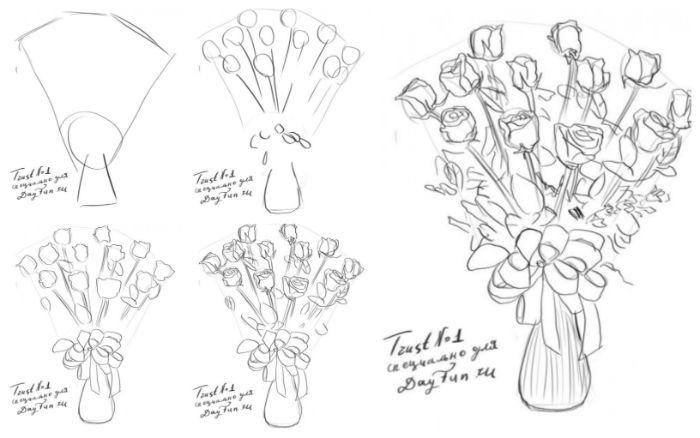 bouquet de roses dessin à faire soi meme facilement étape par étape