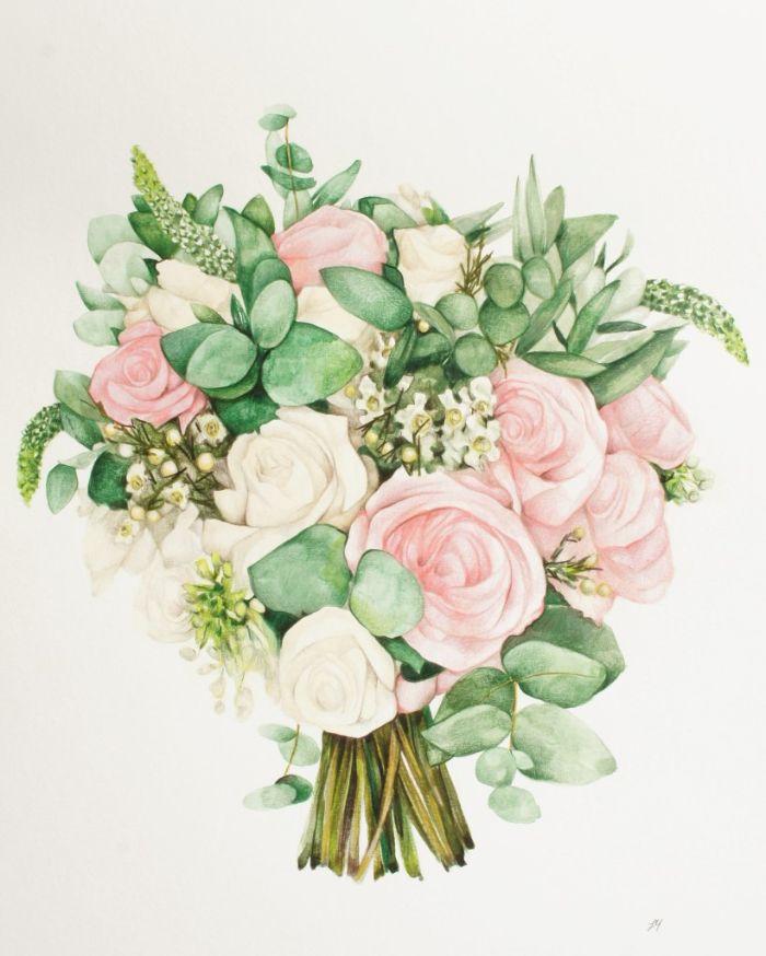 bouquet roses en couleur rose aux feuillages vertes peinture idée cadeau carte fete des meres original