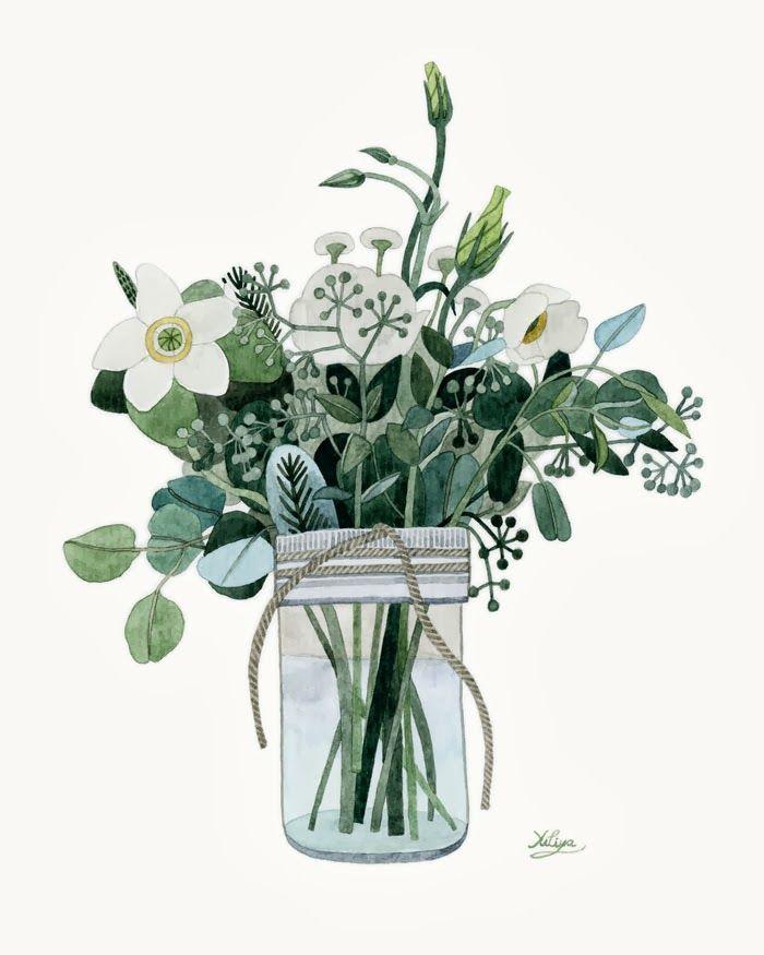 boutons blancs aux feuillages vertes image champetre de bouquet dans pot en verre