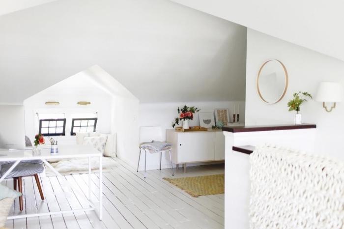 bureau a domicile organisation espace transformation comble aménageable tapis frange jaune moutarde