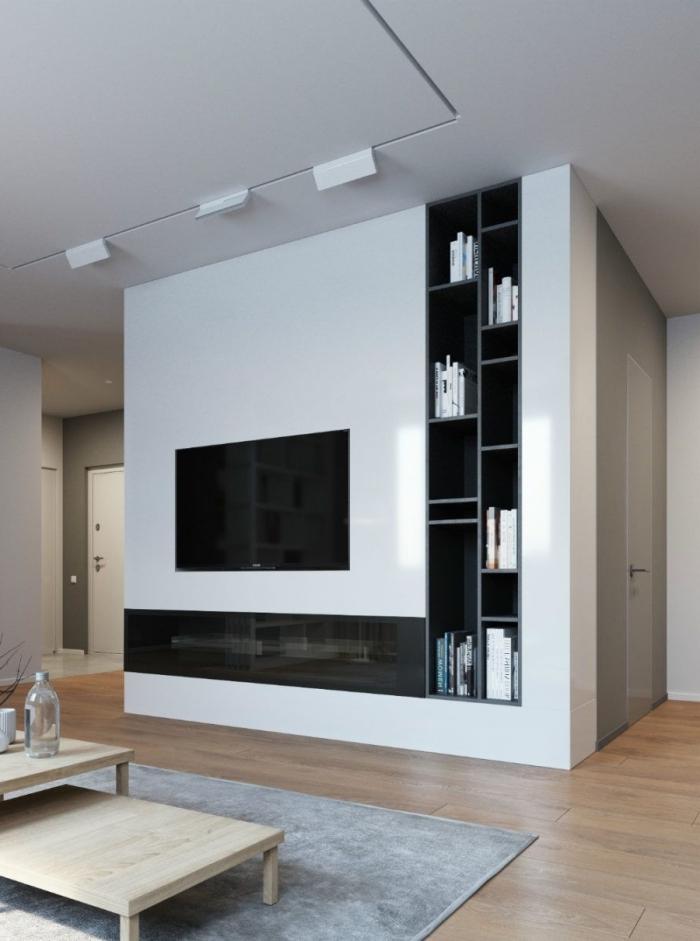 cache fils électriques design conception murale intégrée rangement ouvert étagère verticale