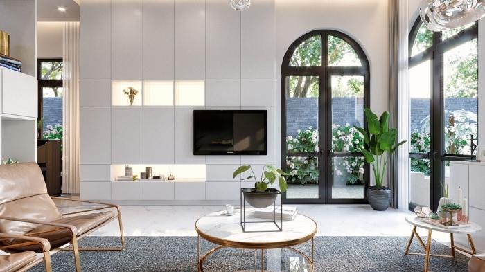cache fils électriques design solution ingénieuse mur niche rangement intégré table or et marbre