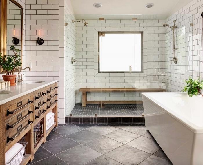 carrelage gris plan de travail blanc meubles bois deco maison de campagne plante verte