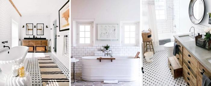 carrelage salle de bain moderne avec accents retro chic baignoire meubles bois panier tressé rangement