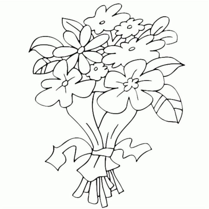 carte fête des mères à fabriquer en maternelle retracer bouquet fleurs simples nouées d un ruban