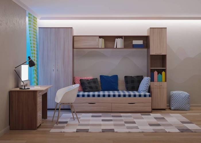 chambre d ado tapis aux carreaux beiges sol en parquet pouff meubles pour chambre d enfant